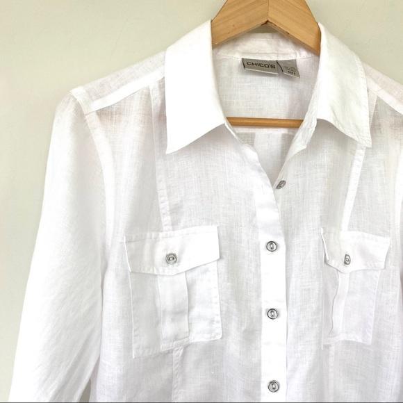 💯 linen white button down shirt